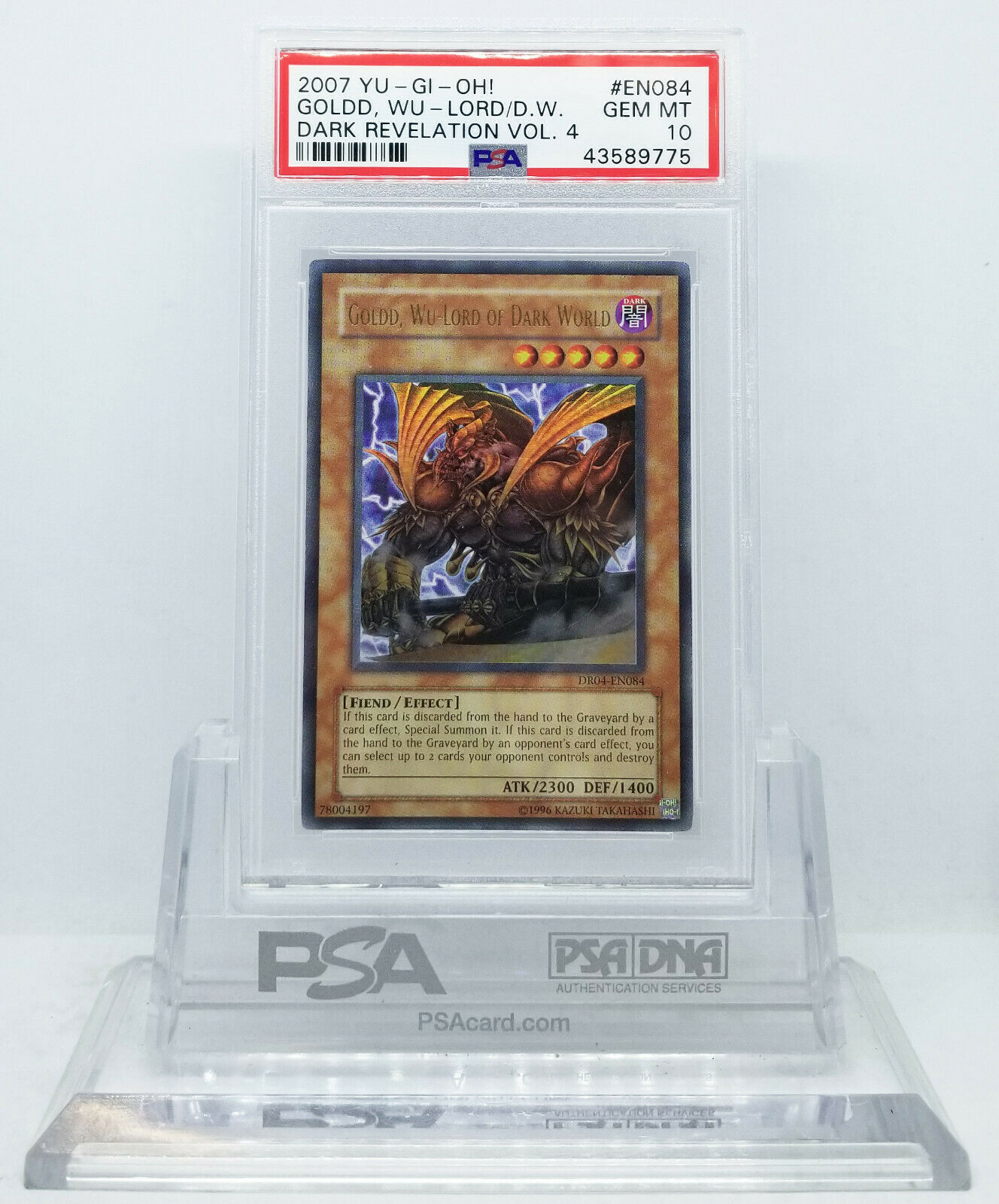 YUGIOH DR04-EN084 goldD WU-LORD OF THE DARK WORLD ULTRA RARE PSA 10 GEM MINT
