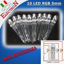 10x LED RGB 5mm ALTA EFFICIENZA TRASPARENTI SUPERLUMINOSI CATODO COMUNE 8000mcd
