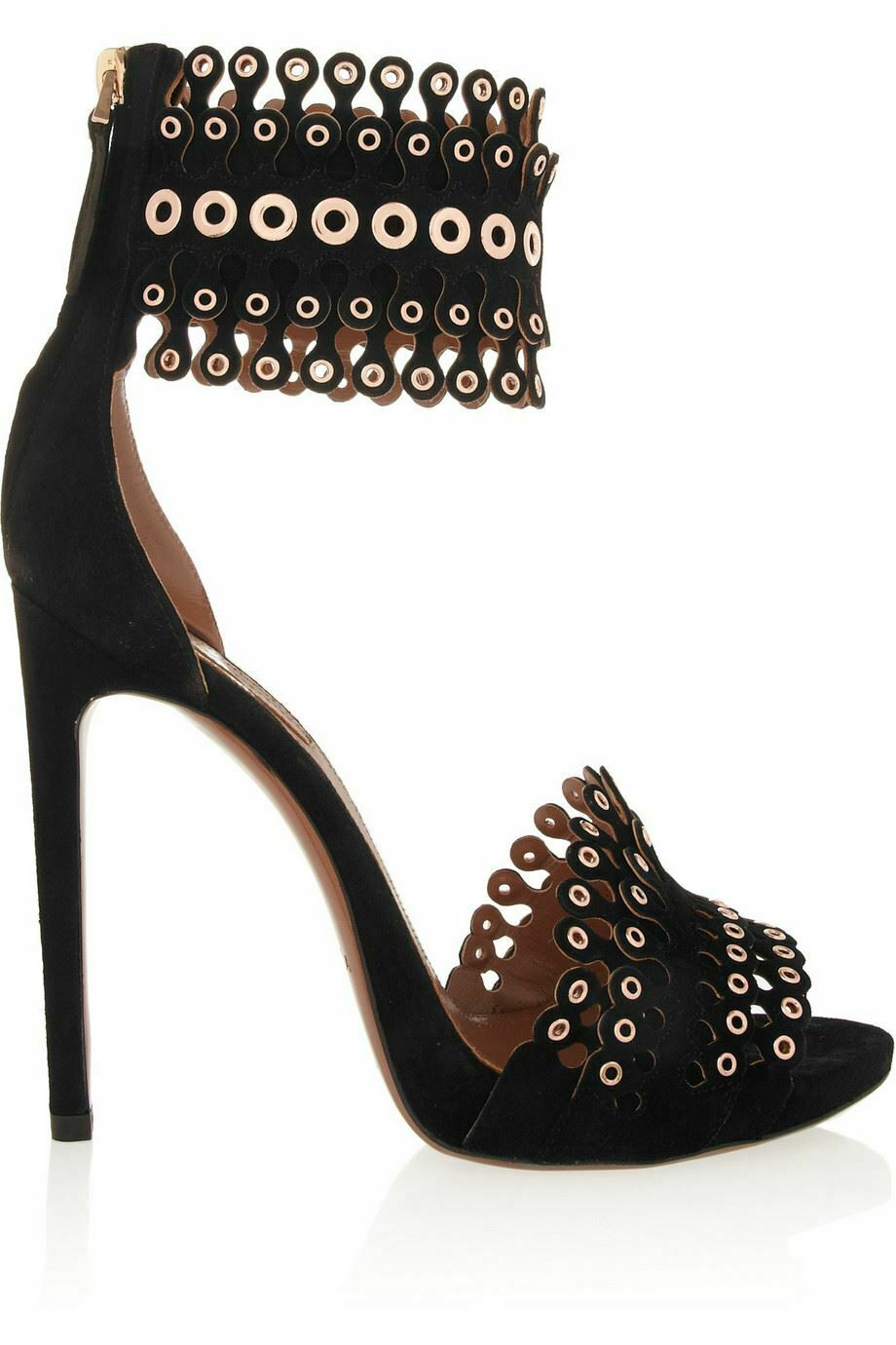 AZZEDINE ALAIA EYELET EMBELLISHED SCALLOPED SUEDE SANDALS EU 38 UK 5 US 8