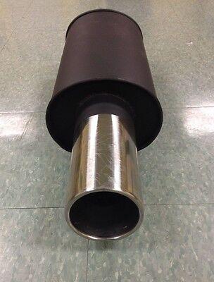 "UNIVERSAL JDM 4/"" ROUND STAINLESS TIP 2.5/"" INLET TURBO MUFFLER EXHAUST BLACK  G-1"