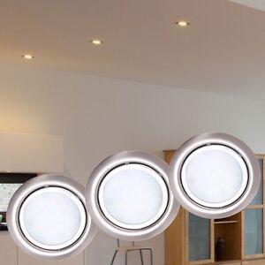 3er set led m bel einbau strahler decken spot k chen leuchte geb rstet silber ebay. Black Bedroom Furniture Sets. Home Design Ideas
