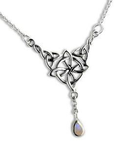 "Sterling Silver Celtic Knot Star Moonstone 17"" Necklace | eBay"