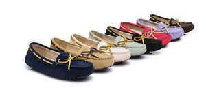 【EXTRA20%OFF】Women Leather Flats Mino Suede Lace Moccasins Summer Flat Loafers