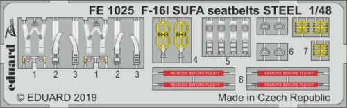 EDUARD ZOOM FE1025 Seatbelts STEEL for Hasegawa® Kit F-16I SUFA in 1:48