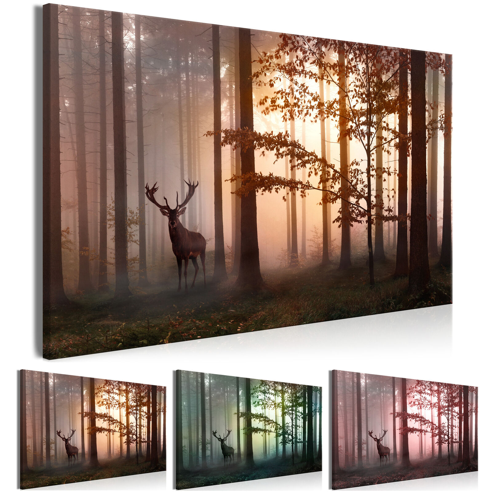 XXXL Wandbild 165x110cm Riesenformat Leinwandbild DIY Wald Canvas c-C-0235-ak-b
