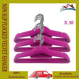 Nouveau 30 X Antidérapante Cintre Floqué Velours Tissu Manteau Suspendus Cintres Rose Chaud-afficher Le Titre D'origine Emballage Fort
