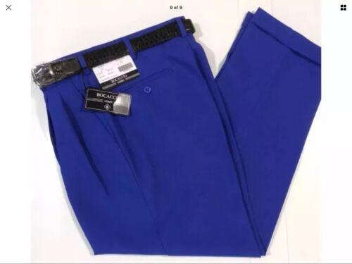 MEN/'S ROYAL PLEATED DRESS PANTS SLACKS TROUSERS BLACK BELT CUFFED BIGMAN SIZES