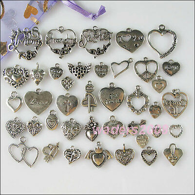 40Pcs Mixed Lots of Tibetan Silver Tone Heart Charms Pendants