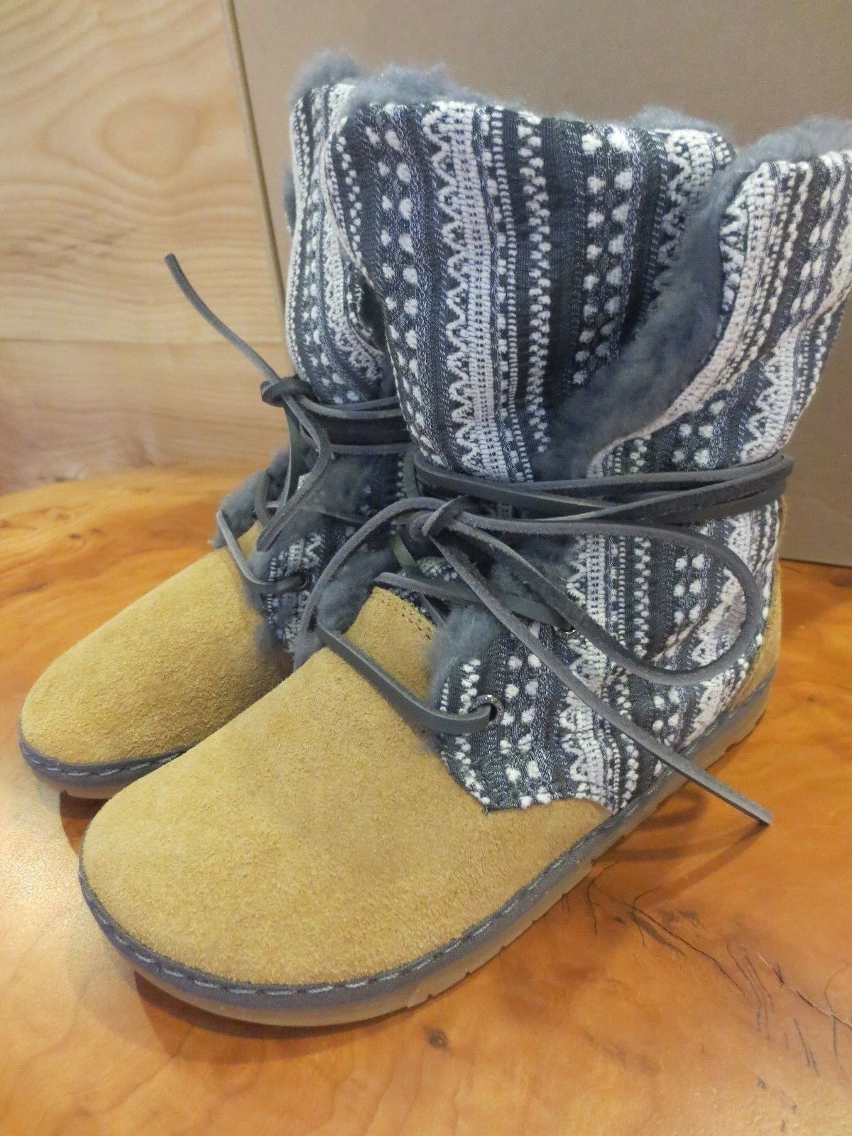 NIB Unisex Otz Boho Hippie Suede Shearling Ankle Boots Shoes