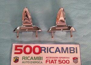 FIAT-500-F-L-R-COPPIA-CERNIERE-COFANO-MOTORE-POSTERIORE-IN-METALLO-CROMATO-NUOVE