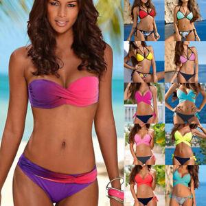 Womens-Bikini-Set-Push-up-Padded-Bra-Swimsuit-Swimwear-Beachwear-Bathing-Suit
