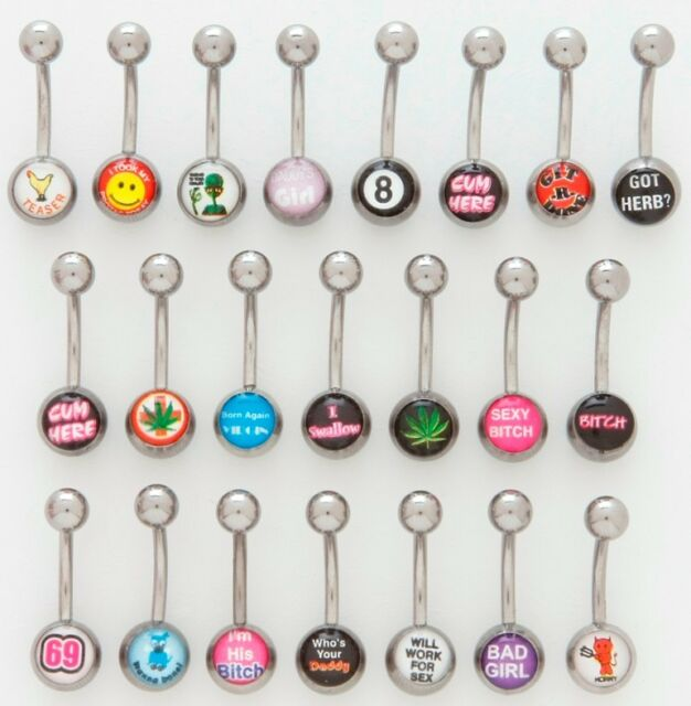 5 Logo Steel Ball 14g Belly Button Rings Wholesale Navel Naval Bad Word Logos