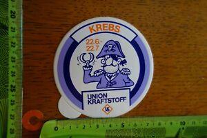 Alter-Aufkleber-Kraftstoff-Oel-Additive-UNION-KRAFTSTOFF-Sternzeichen-KREBS