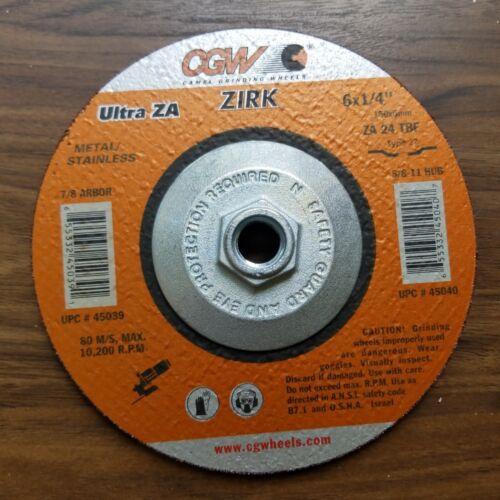 """NEW CGW 6/"""" x 1//4 x 5//8-11 ZA24T Type 27 Grinding Wheels 10 Pack 45040"""