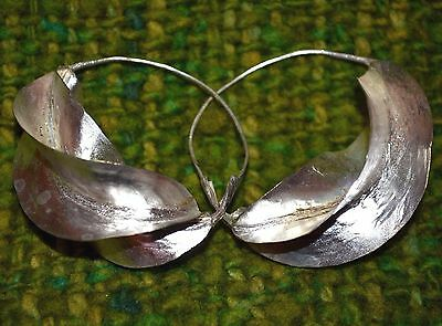 Medium African Fulani Tribal Lightweight Silver Washed Metal Earrings, Africa