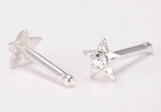Star CZ Solid 925 Sterling Silver Star Nose Bone Stud Ring 26G 6.5MM Length