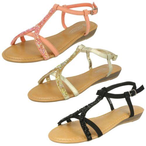 Ladies Spot On Low Wedge Glitter Trim 'Sandal'