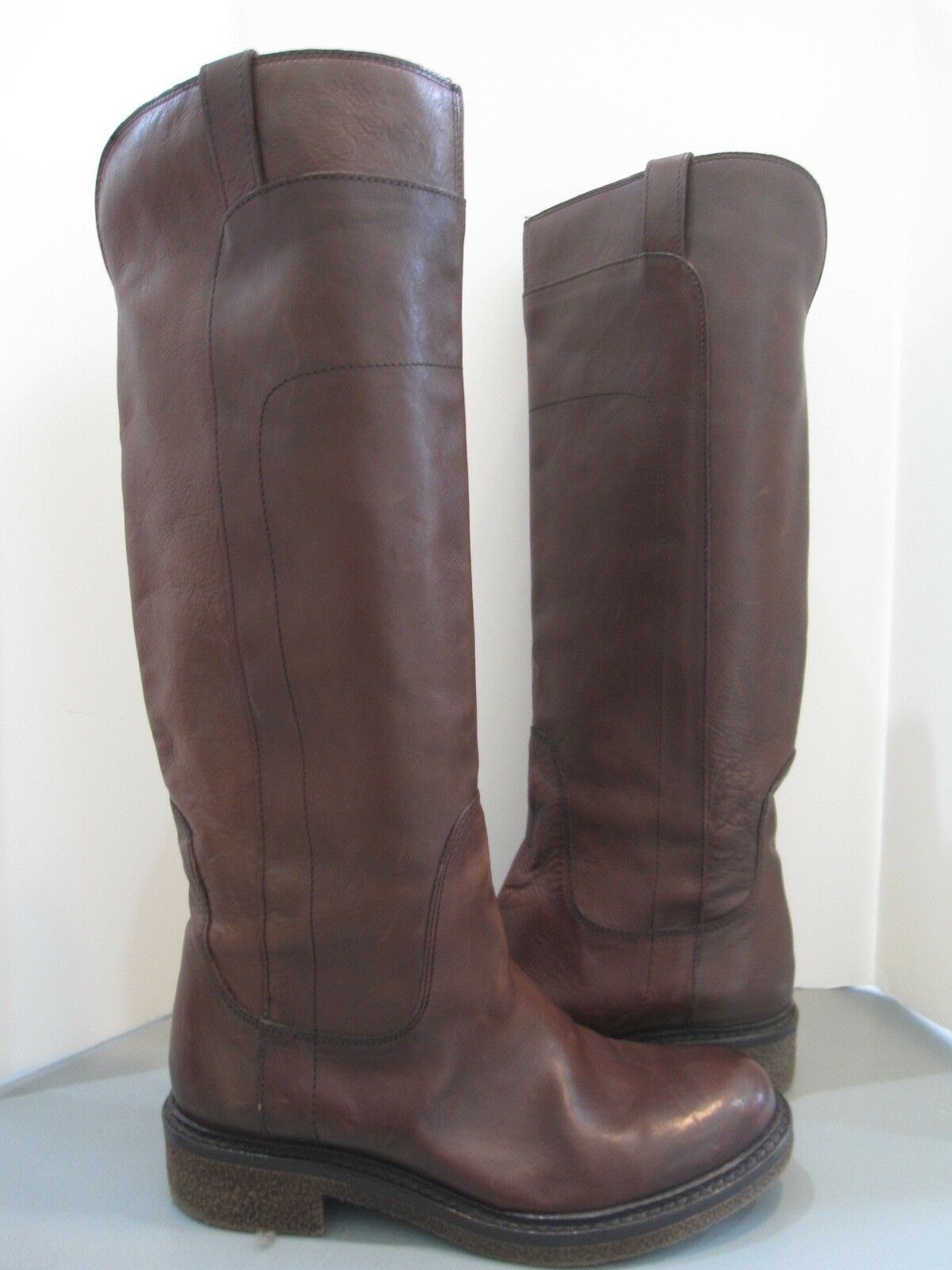 BOEMOS Tall Sleek Rich Brown Boots Sz 37 US 6.5 Made in  Career Casual SALE