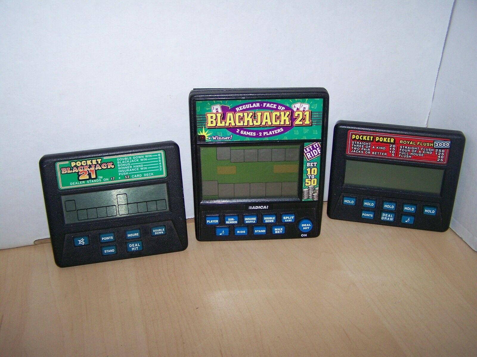 LOT OF 3 VINTAGE RADICA   ELECTRONIC HAND HELD GAMES- ALL WORKING CONDITION
