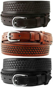 James-Western-Basketweave-Genuine-Leather-Durable-Ranger-Belt-1-1-2-034-Wide