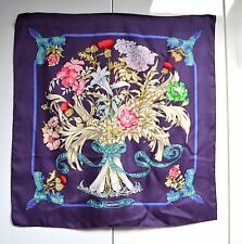 Hermes Hermès 100% Silk Scarf Regina Foulard Sciarpa Purple Good Cond Care Tag