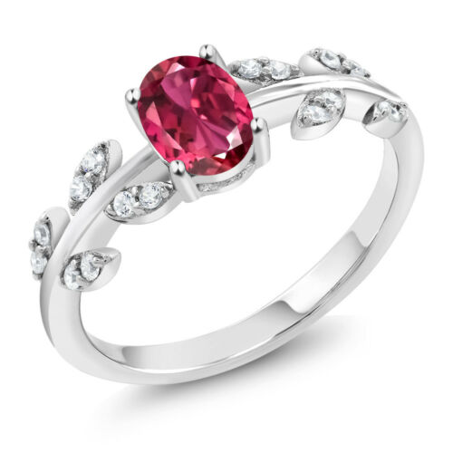 925 Sterling Silver 1.06 Ct Oval Pink Tourmaline Solitaire Olive Vine Ring