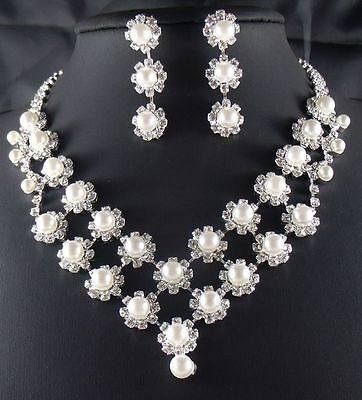Wedding Jewelry Jewellery Set Cream Pearl & Crystal Necklace Stud Earrings SETS