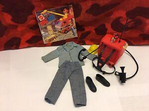 Vintage Mattel Big Jim Action Firefighter Talking Backpack Outfit Complete