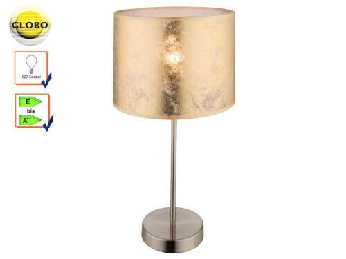 Wohnzimmerlampe Tischleuchte Globo Tischlampe Hockerleuchte Stoffschirm gold