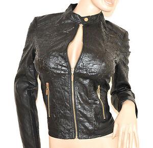 wholesale dealer 6934e ec1c8 Dettagli su GIUBBINO donna NERO giacca pelle giacchino giubbotto ricamato  zip oro jacket H30