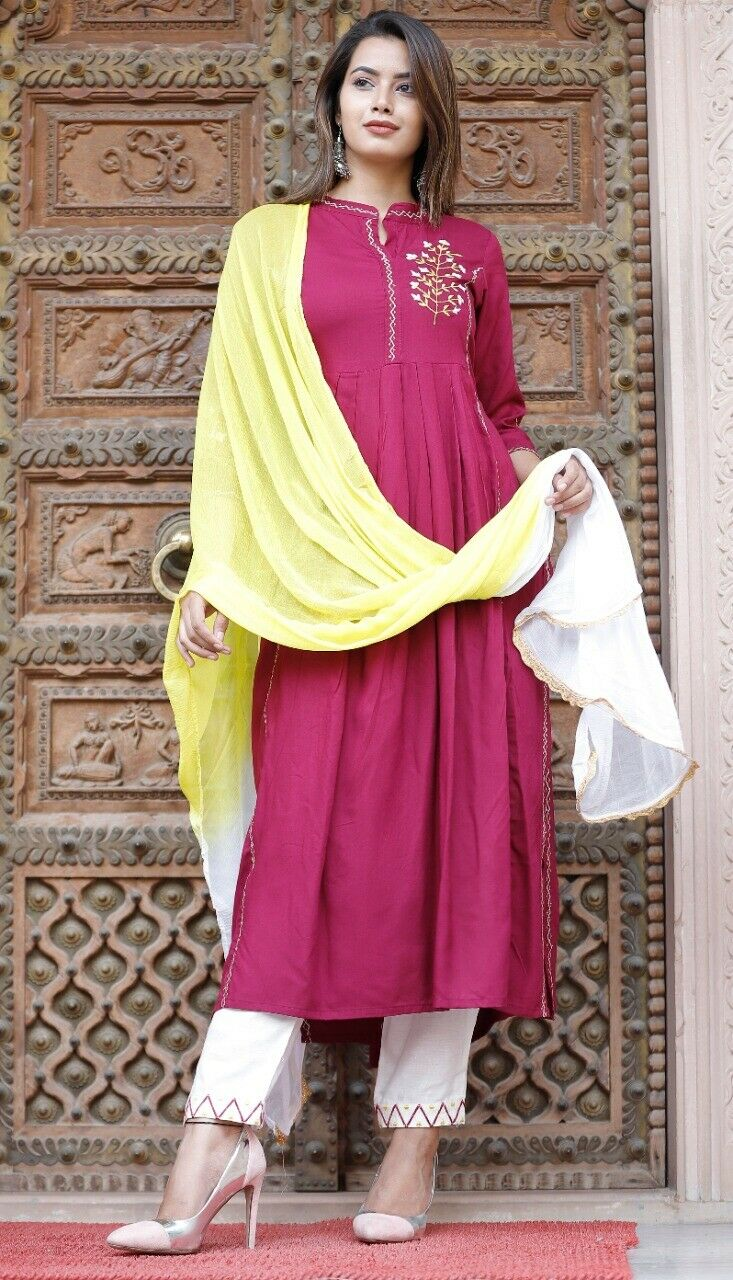 New Latest Reyon Embroded Kurti With Embroded Paint With Duptta