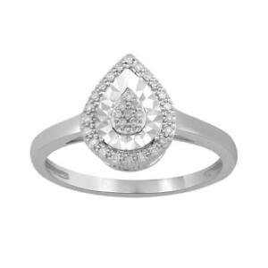 Bevilles Sterling Silver 0.10ct Diamond Pear Ring