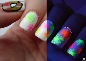 Neon-Colour-Shapes-Studs-Dots-Stars-Nail-Art-Decals-Water-Transfer-Stickers