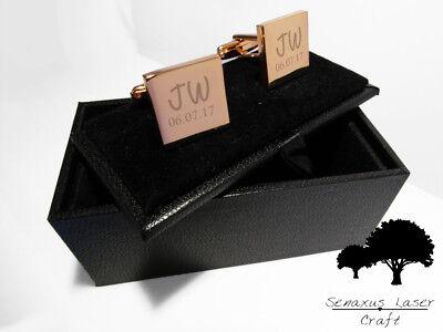Bellissimo Oro Rosa Inciso Gemelli & Scatola Regalo Personalizzato Gemelli Usher Rgcls 3- Moda Attraente