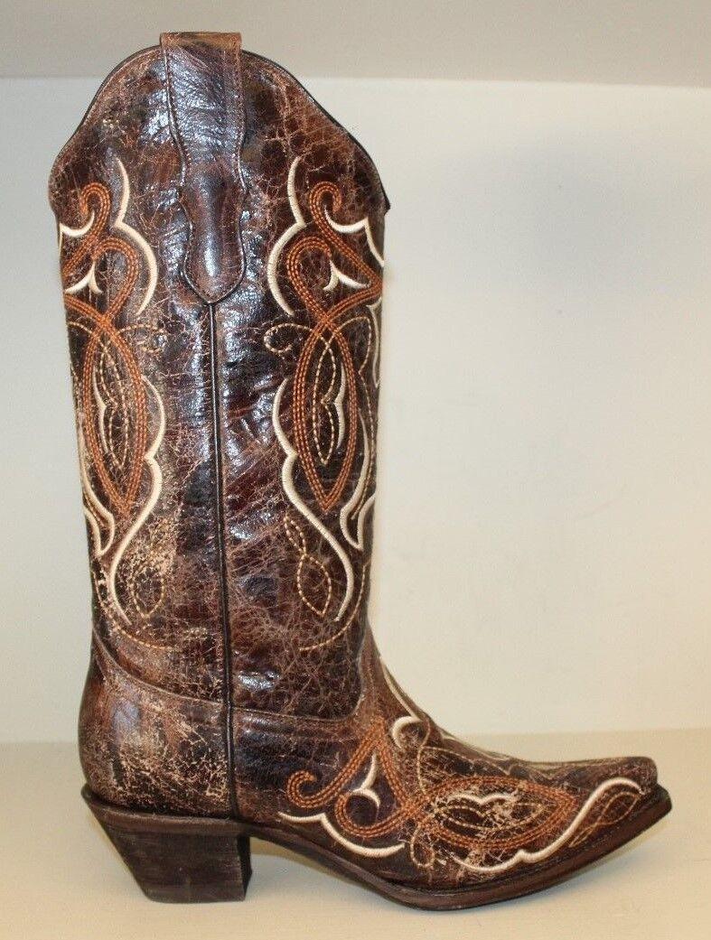 Corral femmes bottes SZ 7.5 m marron vieilli cuir Snip Toe Cowgirl Western