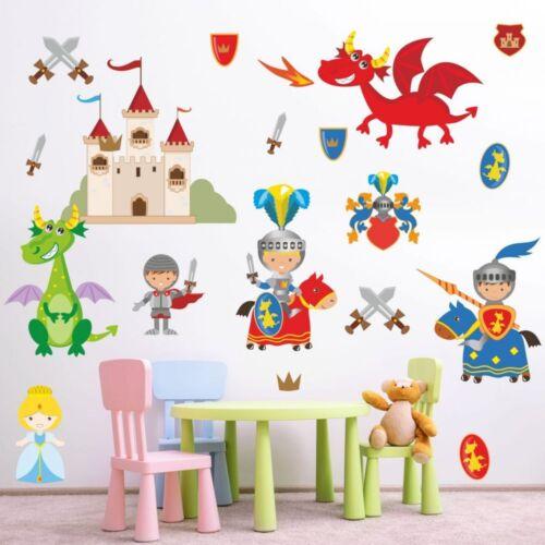 nikima 008 Wandtattoo Ritter mit Drachen Burg Prinzessin Schwert Kinderzimmer