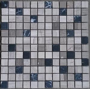 marmor mosaik matte grau schwarz 15x15 cm 8 mm naturstein fliesen bad m570 neu ebay. Black Bedroom Furniture Sets. Home Design Ideas