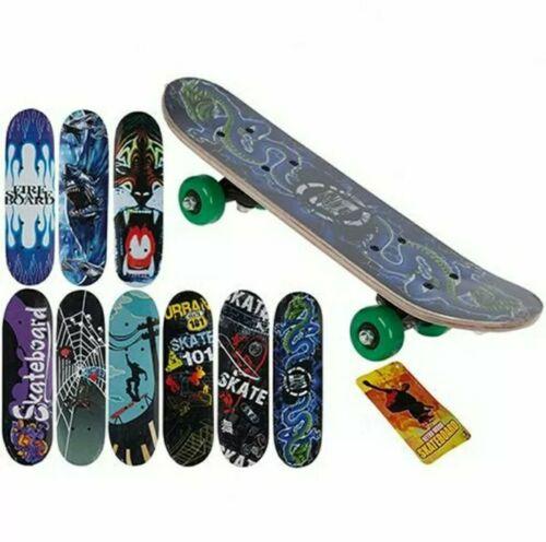 "Kids Skateboard Beginners Brand 17/"" X 5/"" Retro Wooden Skateboard"