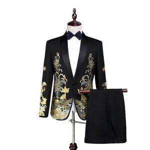 Mens Suit 2 broek chic jasje Floral 2019 New Button stks uitloper Blazer One vmN08nwO