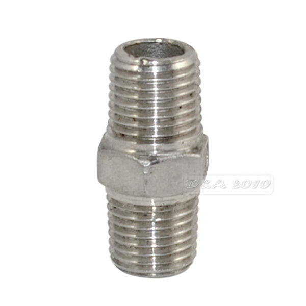 """1/4"""" Male x 1/4""""  Male Hex Nipple SS 304 Threaded Pipe Fitting NPT megairon"""