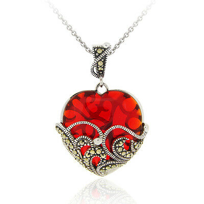 """Marcasite and Garnet Colored Glass Heart Pendant, 18"""""""