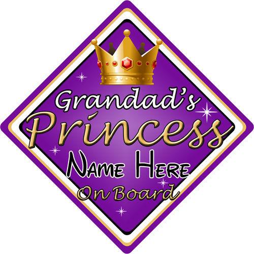 Personalizado De Niño//Bebé A Bordo Coche Firmar ~ abuelos Princesa a bordo ~ púrpura