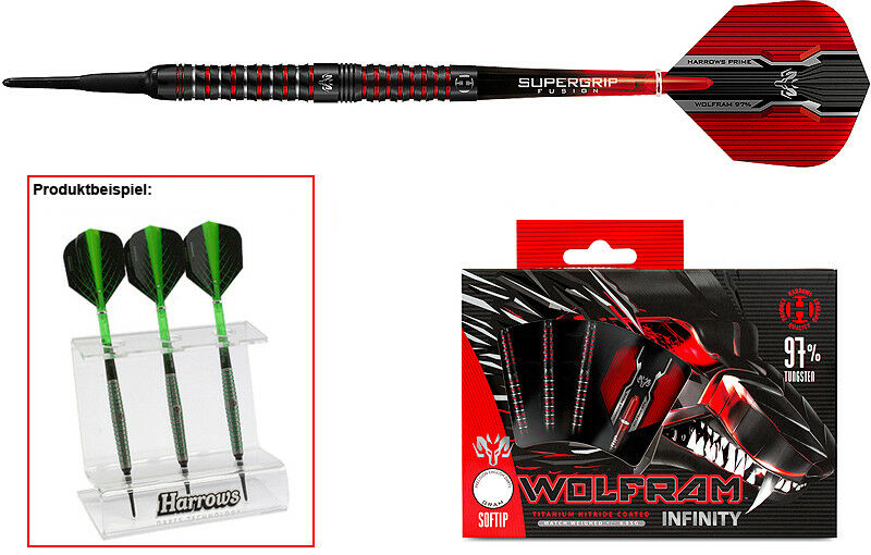 Darts HARROWS Wolfram Infinity Softdarts + Dartständer - Dart Set
