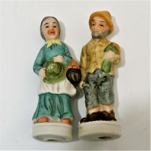 Old Man & Woman Porcelain Figurines Harvesting Wheat And Apples EUC
