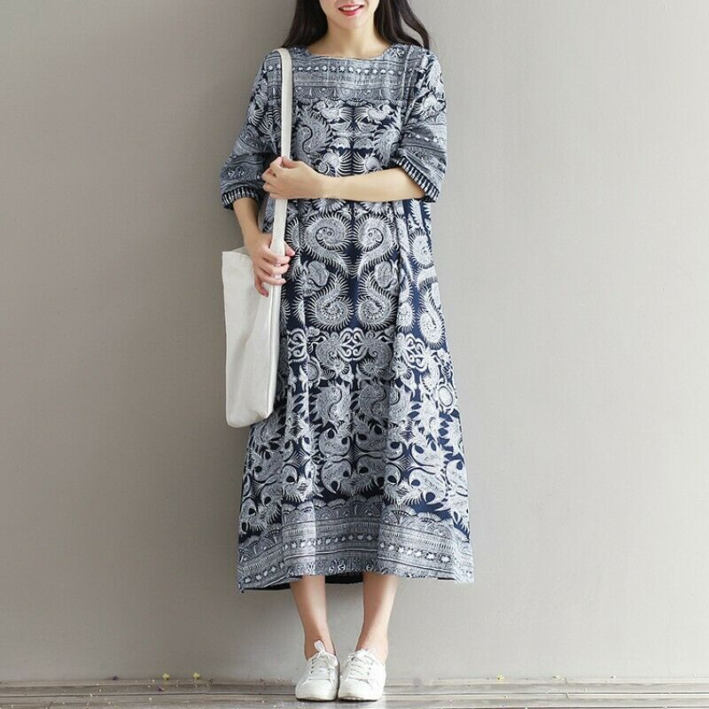Ethnic Womens Cotton Linen Loose Robe Maxi Floral Print Dresses Retro A-Line New