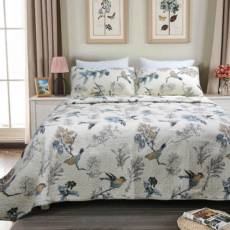 100% Cotton Cabin Cottage Birds Floral 3 pcs Beige Quilt Coverlet King Queen Set
