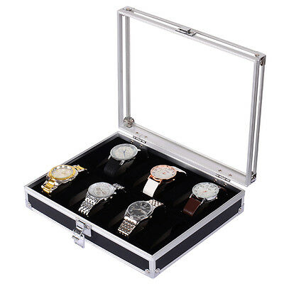 New Mens 12 Grids Slots Jewelry Watch Display Case Aluminum Box Storage Holder
