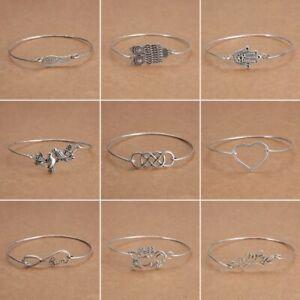 Fashion-Tibetan-Silver-Infinity-Owl-Bangle-Cuff-Bracelets-Women-Charm-Jewelry