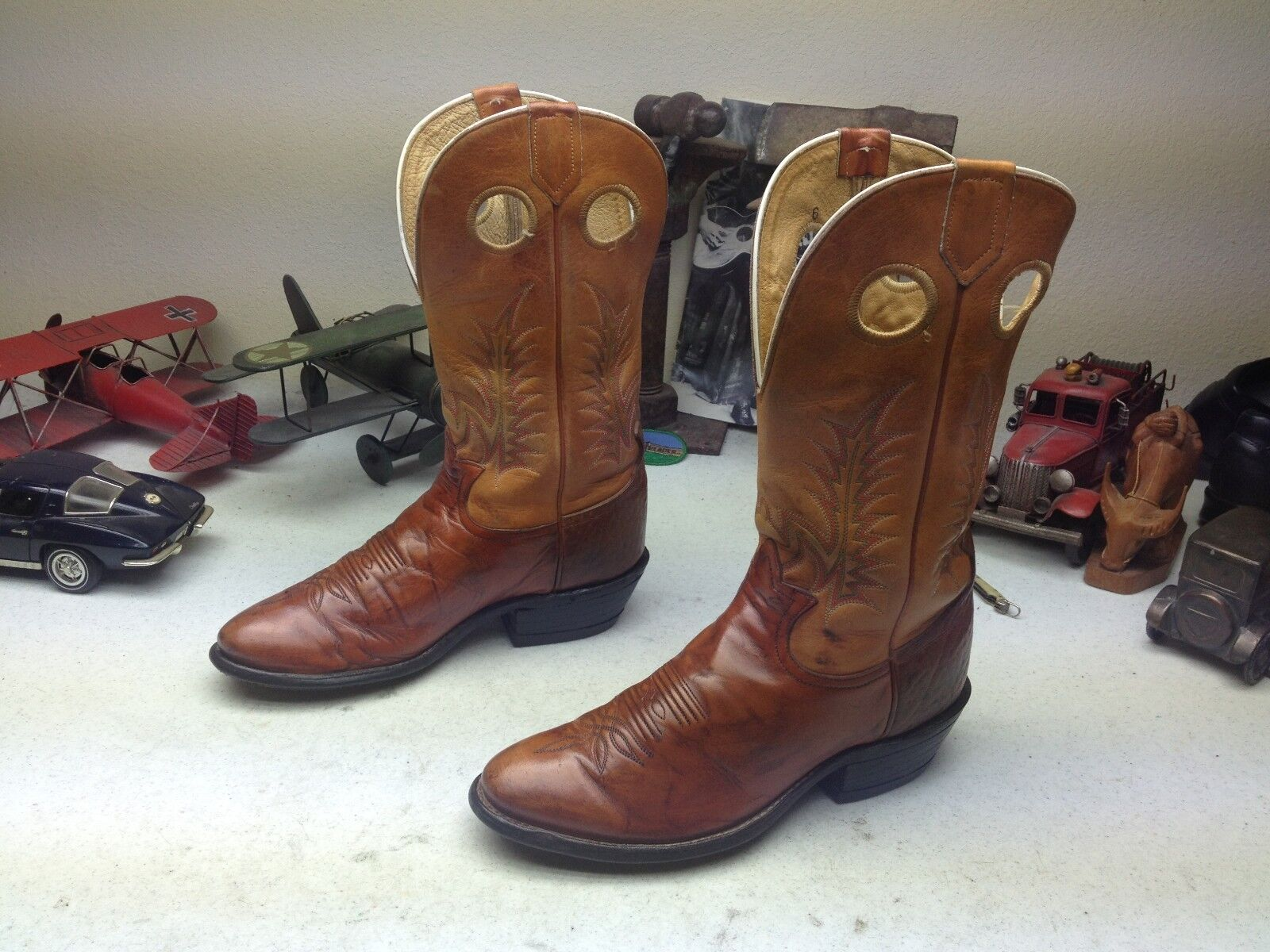 VINTAGE DISTRESSED TONY LAMA USA COGNAC BROWN LEATHER BUCKAROO RANCH BOOTS 7.5 D