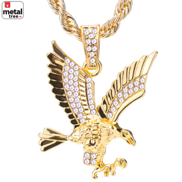 Mens 14k gold plated iced out eagle pendant 24 rope chain necklace mens 14k gold plated iced out eagle pendant 24 rope chain necklace hc 1121 g ebay aloadofball Gallery